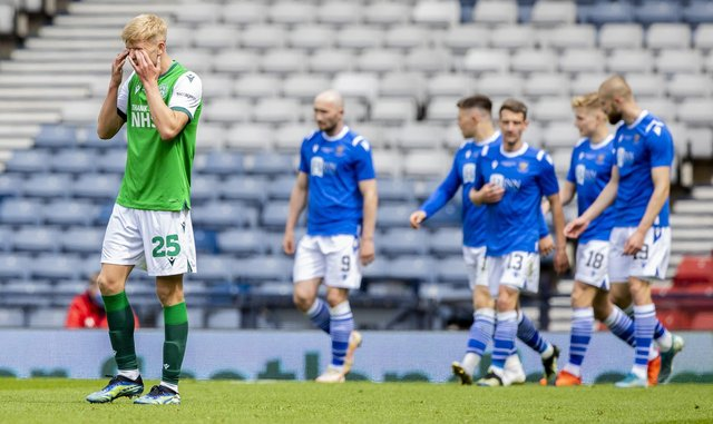 Hibernian's Josh Doig looks dejected after St Johnstone's Shaun Rooney heads home past Hibernian's Matt Macey to make it 1-0 during the Scottish Cup final match between Hibernian and St Johnstone at Hampden Park, on May 22, 2021, in Glasgow, Scotland. (Photo by Craig Williamson / SNS Group)