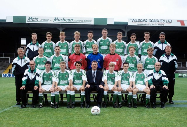 The Hibs squad line up for the traditional team photo prior to the start of the 1993/94 season