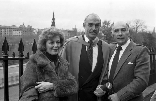 Scottish actor Sean Connery, with his brother Neil Connery and Neil's wife Eleanor Connery, after receiving his honorary degree from Heriot-Watt university in November 1981.