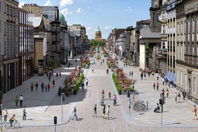 An artist's impression of the proposed plans forGeorge Street. Cars could be largely banned to open up the historic thoroughfare for pedestrians and cyclists (Picture: City of Edinburgh Council/PA Wire)