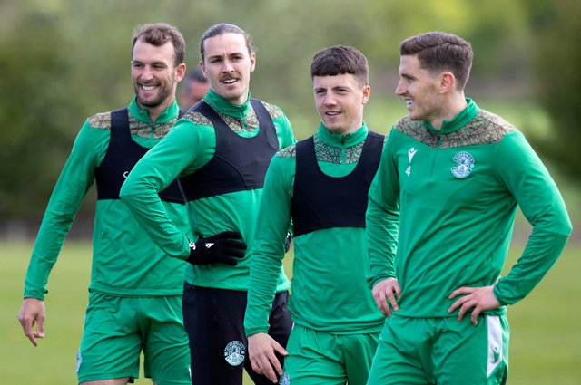 Christian Doidge, Jackson Irvine, Daniel Mackay and Paul Hanlon during a Hibs training session. The former Inverness Caledonian Thistle winger has been involved with the Leith club since the the Championship season wrapped up. Photo by Alan Harvey / SNS Group