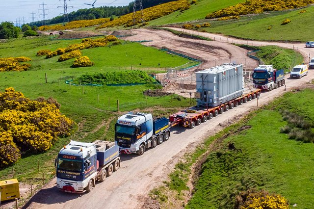 The abnormal load making its way to Crystal Rig. Picture: Peter Devlin