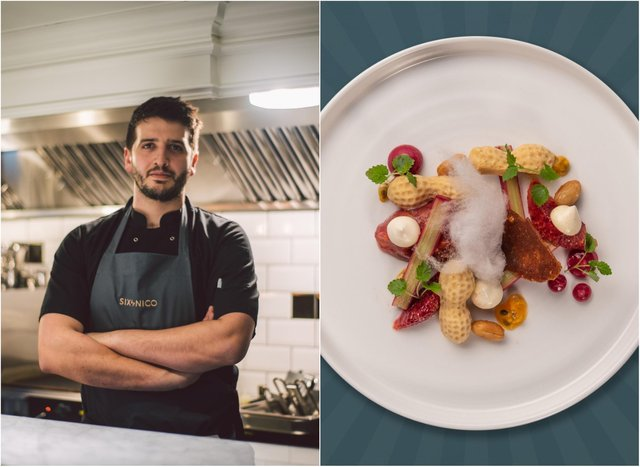 Chef Nico Simeone and the new desert of peanut butter parfait, rhubarb compote, blood orange and candy floss. Pic: Michael Hunter