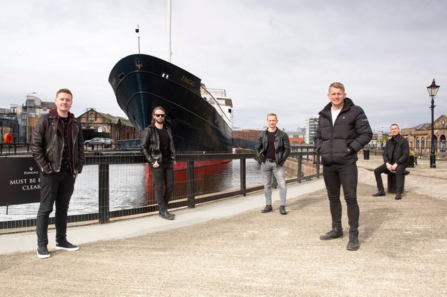 Alec Dalglish, Fraser West, Daniel Gillespie, Martin Gillespie and Alan Scobie visit Fingal in Leith ahead of Skerryvore's gig this month.