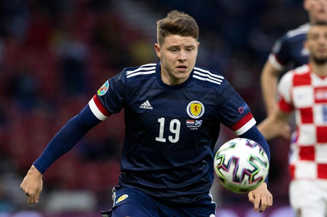 Scotland's Kevin Nisbet in action during the Euro 2020 match against Croatia. Photo by Alan Harvey / SNS Group