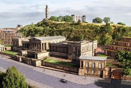 How the hotel would have looked on Calton Hill. Image: Gareth Hoskins Architects