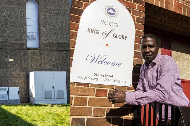 Rufai Adesola outside his church King of Glory in Craigentinny Road picture: Lisa Ferguson