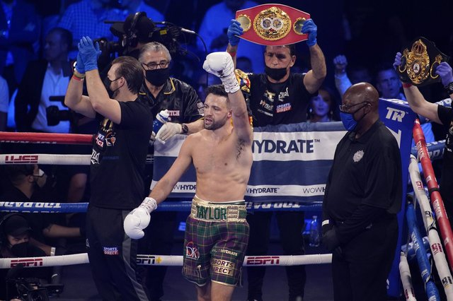 Josh Taylor says the world is his oyster following his victory over Jose Ramirez in Las Vegas. Picture: John Locher/AP