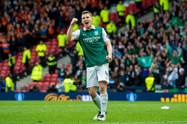 Paul Hanlon celebrates netting his penalty as Hibs defeat Dundee United in the semi-final of the 2016 Scottish Cup. Photo by Craig Foy/ SNS Group