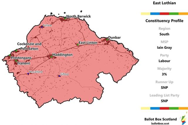 East Lothian constituency map. Picture: Allan Faulds/Ballot Box Scotland