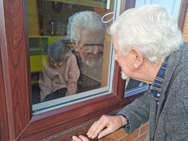 During the Covid lockdown, people have been unable to go inside care homes to visit relatives (Picture: SWNS)