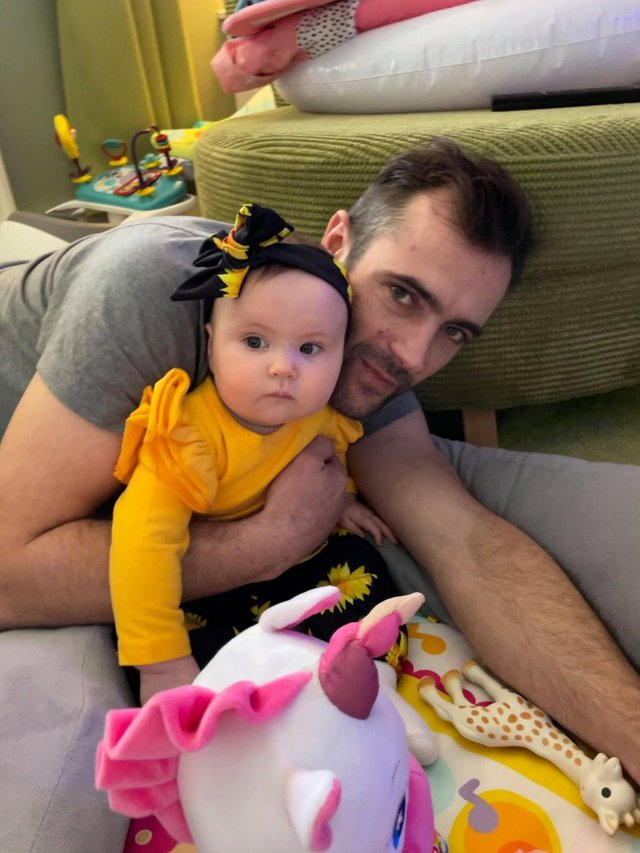 Daniel McFarlane with baby Frankie-Joy