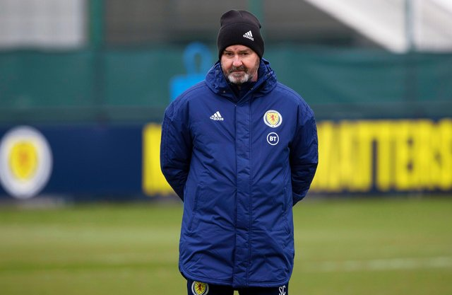 EDINBURGH, SCOTLAND - MARCH 22: Scotland head coach Steve Clarke during a Scotland training session at Oriam, on March 22, 2021, in Edinburgh, Scotland. (Photo by Craig Williamson / SNS Group) **Please note that these images are FREE for FIRST USE.**