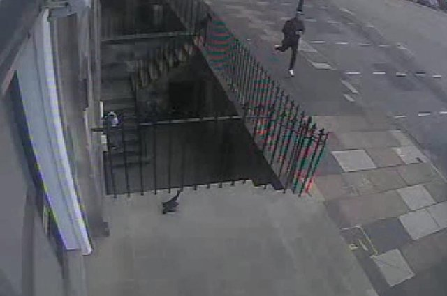 CCTV captured the killer going to and running away from the murder scene. Pic: Crown Office