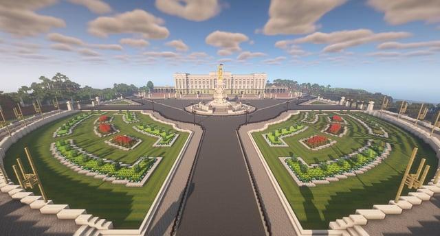 Une reconstitution de Buckingham Palace dans le jeu vidéo Minecraft.