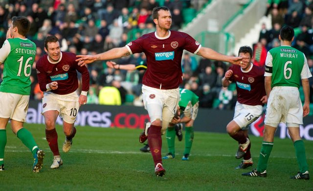 Fond memories: Andy Webster celebrates after scoring in a 3-1 victory over Hibs at Easter Road