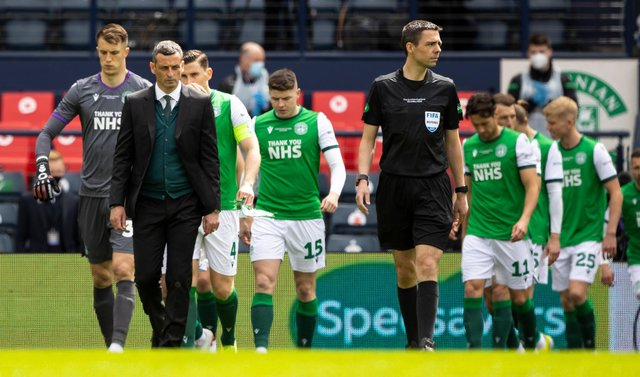 Hibs manager Jack Ross leads out his side during the Scottish Cup final.