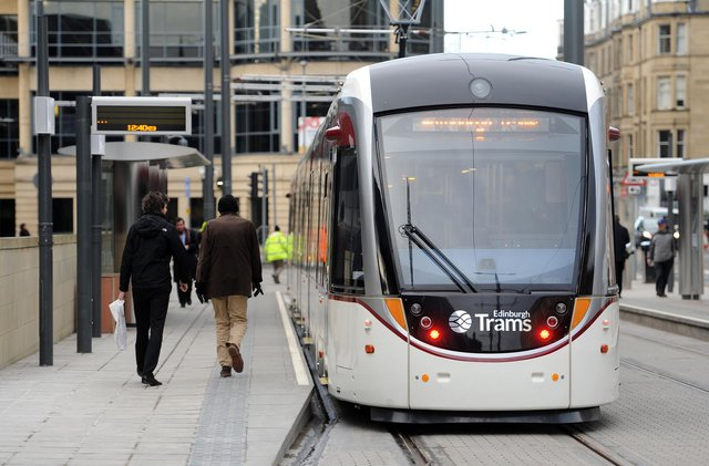 Two boys, aged 12 and 13, have been charged after a stone was thrown at a tram in the west of Edinburgh, smashing a window (Photo: Ian Rutherford).