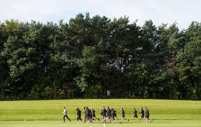 The Hearts squad training at Riccarton.