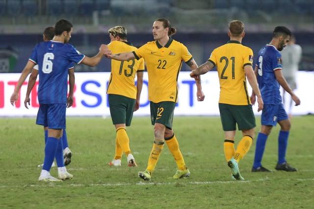 Hibs midfielder Jackson Irvine was on target for Australia.