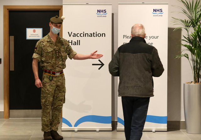 Military personnel, who are assisting with the vaccination programme, at the Royal Highland Showground near Edinburgh picture: PA/Andrew Milligan