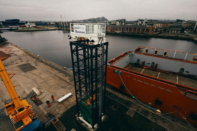The 15m-high lattice-work tower at Leith docks is part of a pioneering green energy storage project which will be able to provide emergency power in a matter of seconds (Photo: Peter Dibdin).