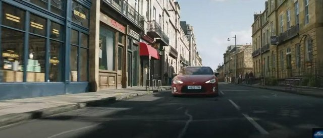 The trailer shows a car racing down what appears to be a composite incorporating Melville Street in the West End of the citybefore crashing through a whisky shop (Photo: Universal Pictures).