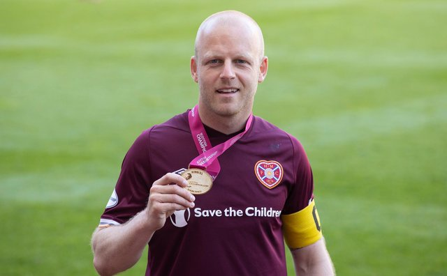 Hearts captain Steven Naismith received his Championship winner's medal last weekend.