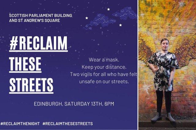Chloe, 20, from Edinburgh, who has arranged for a vigil to take place this weekend in the wake of Sarah Everard's disappearance picture: supplied