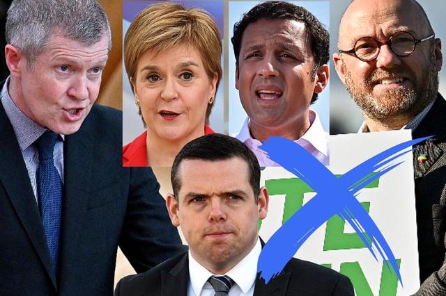 The leaders of Holyrood's five largest parties: Willie Rennie, Nicola Sturgeon, Douglas Ross, Anas Sarwar, Patrick Harvie (and co-leader Lorna Slater) (Credit: Mark Hall)