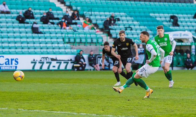 Martin Boyle won and then confidently despatched his penalty to put Hibs 2-0 up against Livingston. (Photo by Mark Scates / SNS Group)