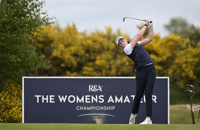 Hannah Darling in action during the second qualifying round of the R&A Womens Amateur Championship at Kilmarnock (Barassie) Golf Club. Picture: Charles McQuillan/R&A/R&A via Getty Images.