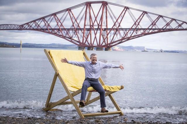 Scottish Liberal Democrat leader Willie Rennie staged this photocall in South Queensferry.
