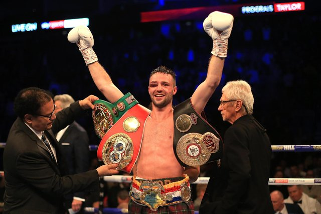 Josh Taylor celebrates victory over Regis Prograis after a brutal fight at The O2 Arena in London. Picture: Stephen Pond/Getty Images