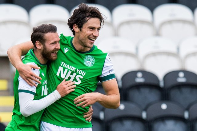 Joe Newell (R) celebrates with team-mate Martin Boyle after scoring Hibs' second goal in their victory over St Mirren, back in September. Photo by Ross Parker / SNS Group