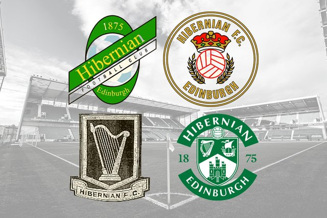 The four main club crests used by Hibs since 1875