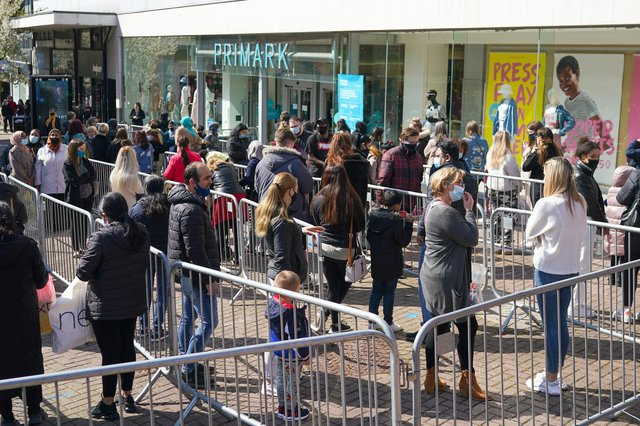 Shoppers queue outside a Primark store in Stoke-on-Trent this week