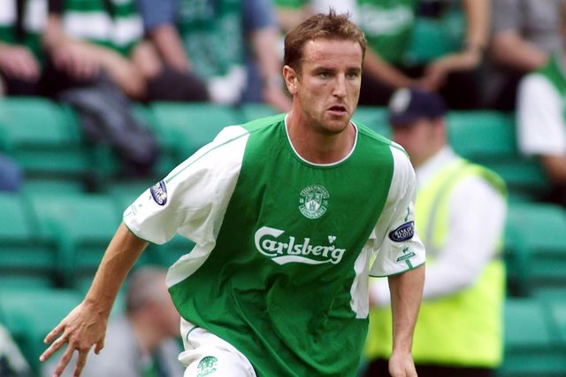 Grant Brebner, in action for Hibs in 2003, has been appointed interim head coach of Melbourne Victory. Pic: SNS Group