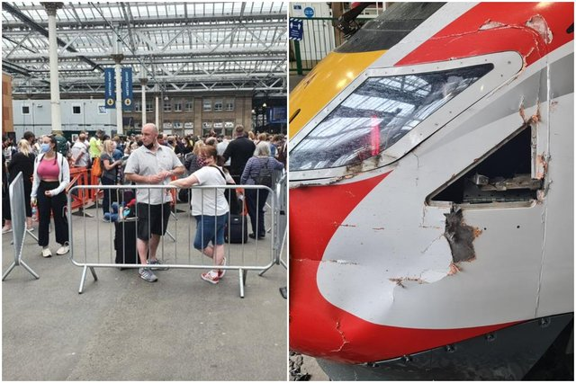 Crowds pictured queuing at Edinburgh Waverley after damage to trains cause disruption to services picture of train:  Mark Fawcett