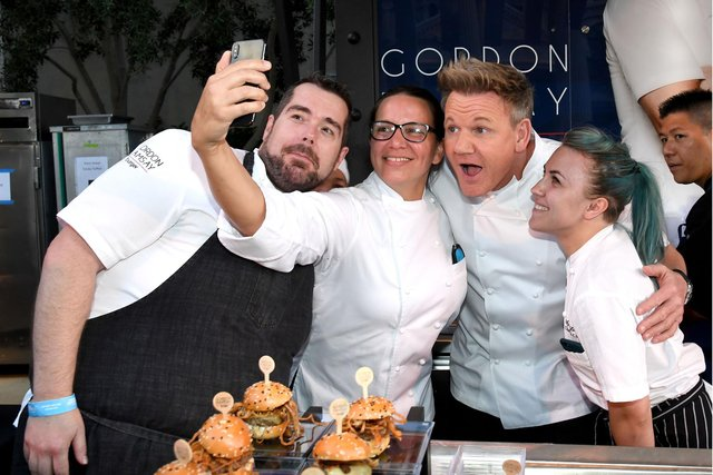 Gordon Ramsay shows his lighter side at the Gordon Ramsay Burger booth in Las Vegas in 2019 (Picture: Ethan Miller/Getty Images for Vegas Uncork'd by Bon Appetit)