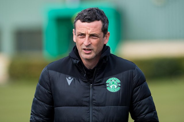 Hibs manager Jack Ross will wait to finalise his line-up for Livingston game due to a couple of injury doubts. Photo by Ross Parker / SNS Group