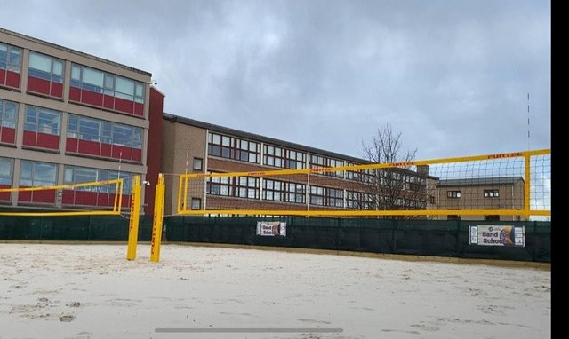 Liberton's beach volleyball court is the first permanent school-based facility of its kind in Scotland