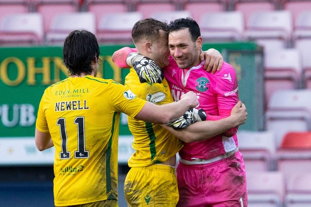 Joe Newell, Ryan Porteous, and Ofir Marciano celebrate at full time