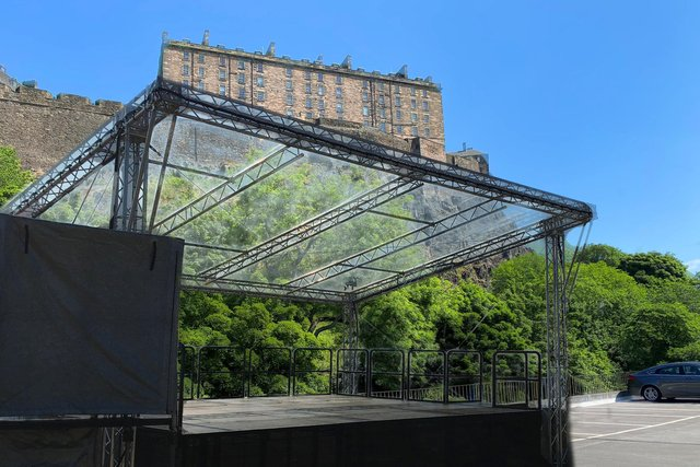 An image has been released showing the new MultiStory venue, against the backdrop of Edinburgh Castle.