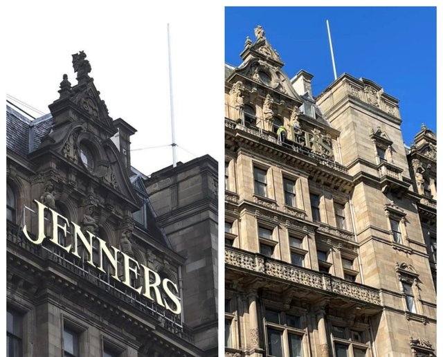 Left, the classic Jenners signage; and right, how it looks after the removal started. Credit Angela Smith.