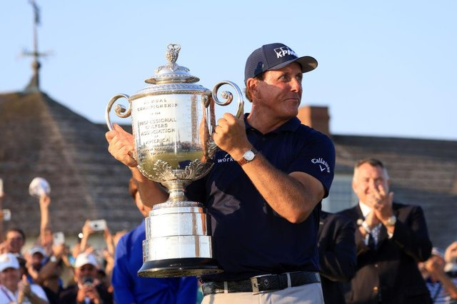 Phil Mickelson celebrates with the Wanamaker Trophy after winning the 2021 PGA Championship held at Kiawah Island. Picture: Sam Greenwood/Getty Images.
