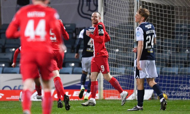 Dunfermline's Craig Wighton (centre) celebrates making it 2-0 during a Scottish Championship match between Dundee and Dunfermline Atheltic at Dens Park, on March 27, 2021, in Dundee, Scotland. (Photo by Ross MacDonald / SNS Group)