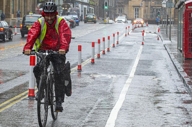 The Spaces For People project in Edinburgh has seen new cycle lanes created in the city (Picture: Lisa Ferguson)