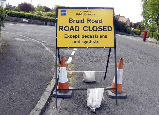 Braid Road was closed under the Spaces for People scheme    Pic Lisa Ferguson
