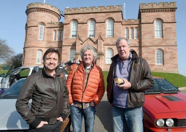 The trio during filming in Scotland for the Amazon Prime series The Grand Tour. Picture: SWNS